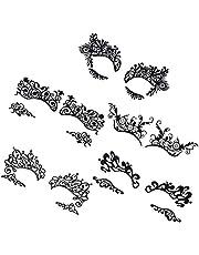 Lurrose Tillfällig Öga Tatuering Klistermärken 5 par Svarta Spets Makeup Ögonliner Klistermärken Ögonskugga Klistermärken För Masquerade Carnid Halloween Party