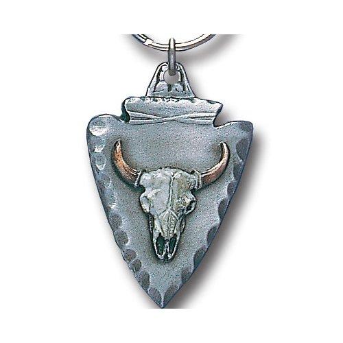 - Siskiyou Automotive Metal Key Chain Buffalo Skull On Arrowhead Enameled Details