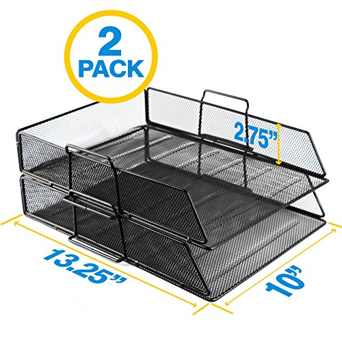 OfficeEmpire Metal Mesh Stackable Document Paper Tray Desk Organizer |13.25