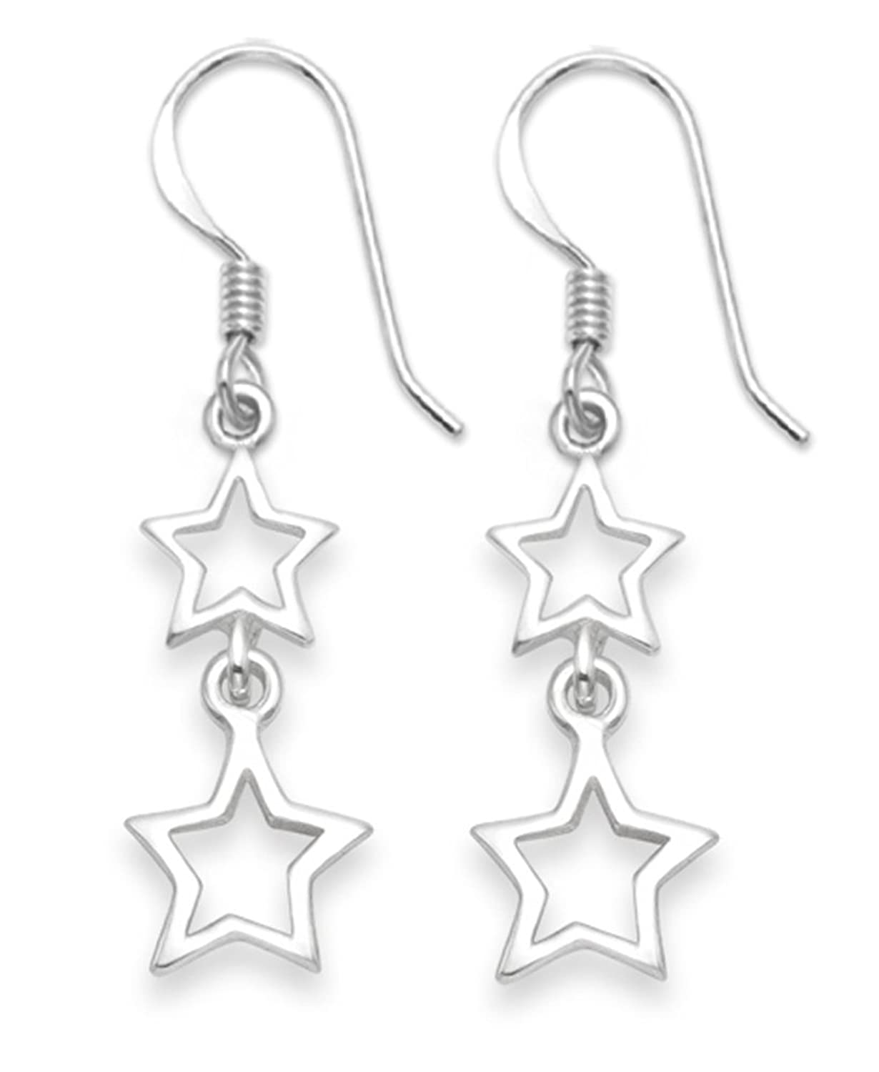 Sterling Silver Star earrings - Three star earrings on star stud - SIZE: 43mm x 9.5mm. 6171/HNbox 2x9ph648