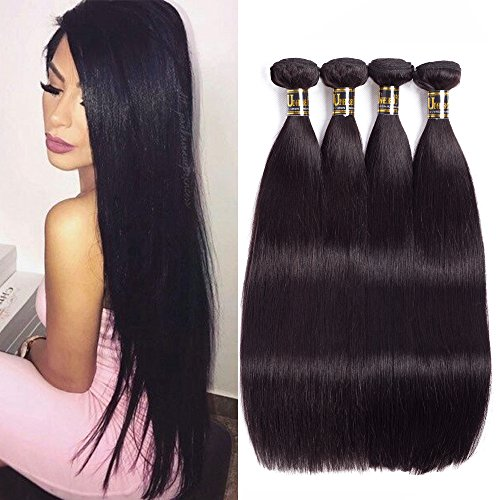 Uneed Hair 8A Brazilian Virgin Hair Straight 4 Bundles (18 20 22 24 inch ) Natural Black 100% Unprocessed Real Remy Human Hair Bundles Brazilian Straight Weave Hair Human Bundles by Uneed Hair