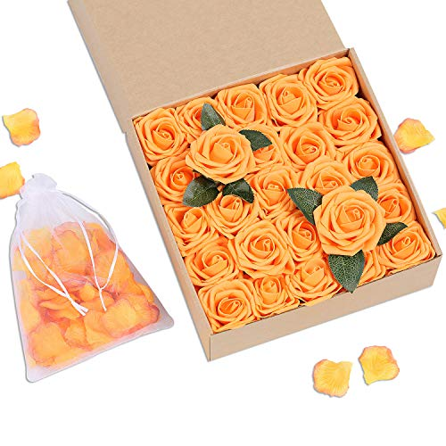 Bunny Lamb Artificial Roses Handcrafted Wedding Flowers for DIY Wedding Centerpieces Bridal Bouquet Flower Arrangement and Church Hotel Restaurant Home Decorations - 50pcs (Honey Orange)]()