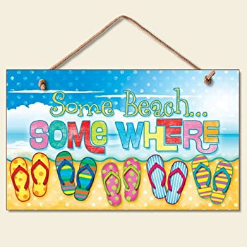 New Some Beach Somewhere Sign Flip Flops Tropical Wall Decor Coastal  Picture Art