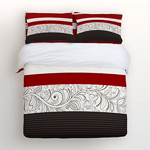 Cheap Libaoge 4 Piece Bed Sheets Set, Red Classic Floral Stripes Design, 1  Flat