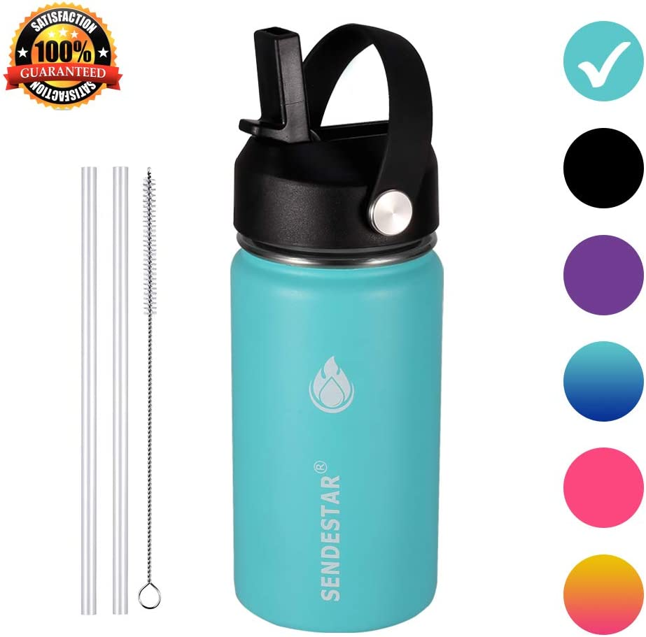 SENDESTAR Stainless Steel Water Bottle-12oz, 24oz, 40oz or 64oz with New Straw Lid or Spout Lid Keeps Liquids Hot or Cold with Double Wall Vacuum Insulated Bottle (12 oz-Mint)