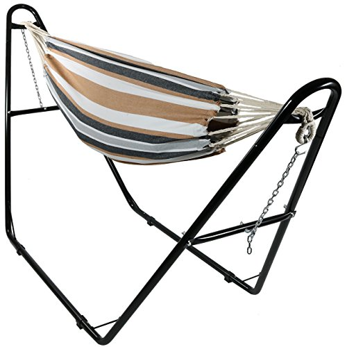 Sunnydaze Brazilian 2-Person Hammock with Universal Multi-Use Steel Stand, Indoor/Outdoor Use, 440 Pound Capacity, Calming Desert