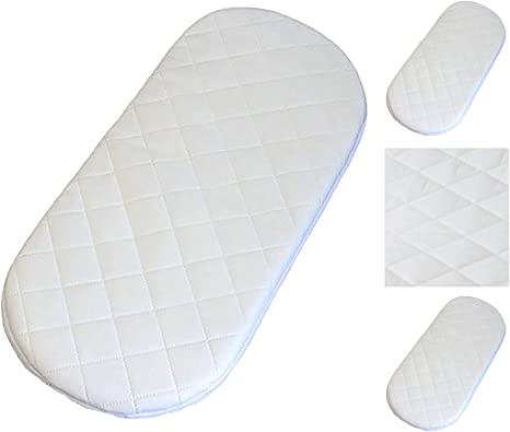 Baby Toddler Moses Basket//PRAM Oval Shaped MATTRESSES Moses Basket Foam Mattress Bassinet Baby PRAM Oval Fully Breathable Quilted 74 X 30 X 3.5 cm