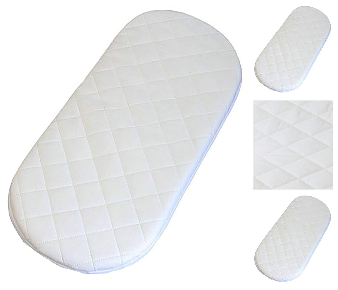 PRAM QUILTED ALL SIZES OVAL SHAPED ROUND CORNERS SOFT MATTRESSES 76X36X3 CM MOSES BASKET 76x36x3 cm