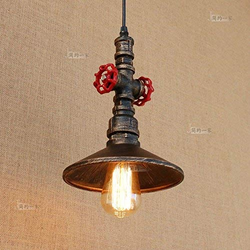 Hines Vintage Industrial Single Head Steampunk Water Pipe Ceiling Pendant Light Retro Metal Copper Pipe Fixture Home Deco Chandelier Adjustable Hanging Lamp E27 Edison ()