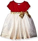 Blueberi Boulevard Girls Velvet Holiday Dress, Red, 12 Months