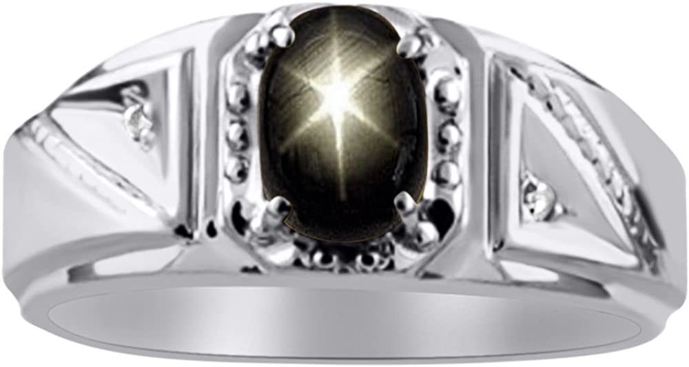 Diamond /& Black Star Sapphire Ring Sterling Silver or 14K Yellow Gold Plated Silver