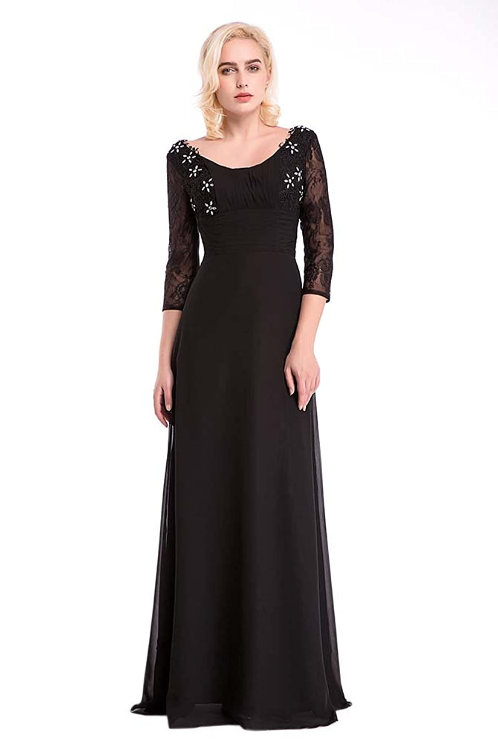 Hot Queen Women's V-Neck Lace and Chiffon Half-sleeve Sex Long Prom Dresses 2016