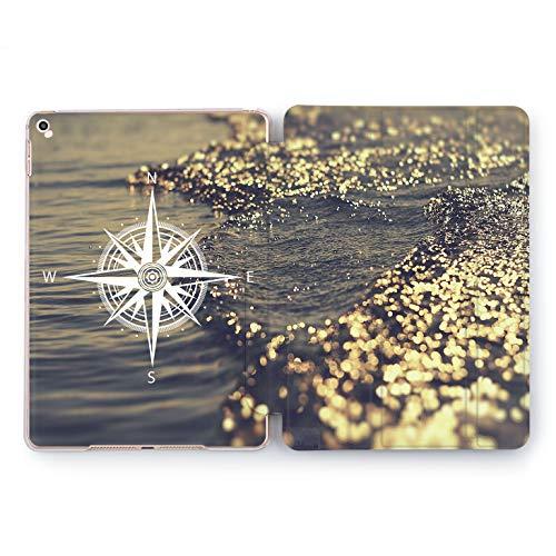 Wonder Wild Ocean Travel iPad 5th 6th Generation Mini 1 2 3 4 Air 2 Pro 10.5 12.9 2018 2017 9.7 inch Trip Design Smart Plastic Cover Compass Line Sea Voyage Print Case Journey Luxury Gold World Map]()