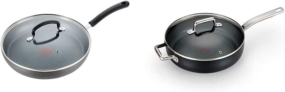T-fal Dishwasher Safe Cookware Lid Fry Pan, 10-Inch, Black & C51782 ProGrade Titanium Nonstick Thermo-Spot Dishwasher Safe PFOA Free with Induction Base Saute Pan Jumbo Cooker Cookware, 5-Quart, Black