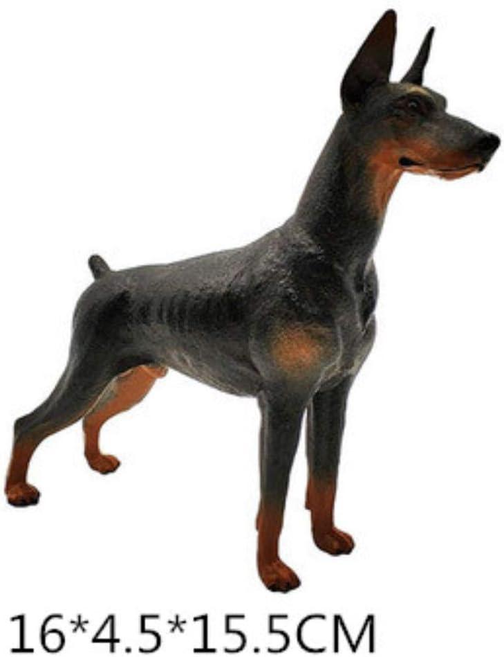 Manualidades Escultura Animales Mascota Guardia Perro Pitbull Doberman Rottweiler Figura Niños Regalo Escritorio Decoraciones para El Hogar, Negro