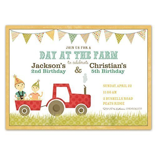 Amazon Customized Country Farm Party Red Tractor Birthday – Farm Party Invitations