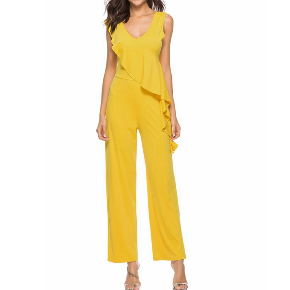 QWKUN Women Ruffle Sleeveless V-Neck Top Casual Wide Leg Jumpsuits Rompers (Color : Yellow, Size : L)