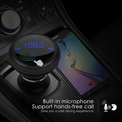 CHGeek Bluetooth 4.2 FM Transmitter 5V/2.1A [Smart Car Locator] Wireless Audio MP3 Player Radio Adapter Receiver Hands-free Car Kit with Dual Port USB Car Charger & LED Display (Black) by CHGeek (Image #4)