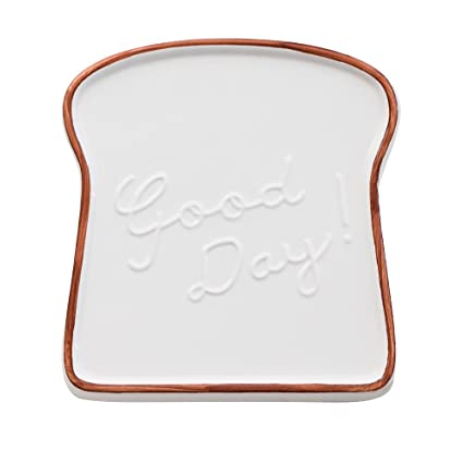 Amazon.com: CHOOLD Creative Ceramic Toast Shaped Dinner Plate/Salad ...