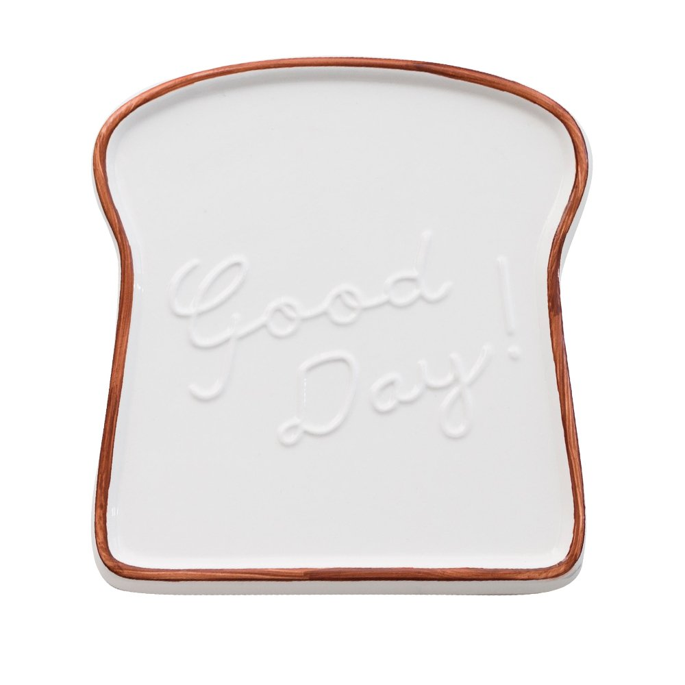 CHOOLD Creative Ceramic Toast Shaped Dinner Plate/Salad Plate/Dessert Plate/Morning Dish for Kitchen Party Restaurant Xmas Gift 6''