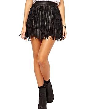 eb8641422 Moollyfox Falda De Flecos De PU Cuero De Mujer Estrecho Atractiva Lapiz  Faldas De Tubo