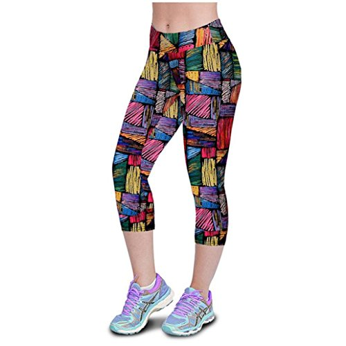 (Doodle Print Yoga Pants, Women's Tummy Control Capri Leggings Sports Gym Running Fitness Workout Cropped Pants by E-Scenery (Multicolor, Large))