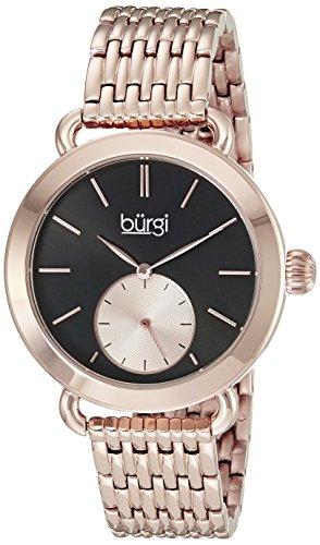 Burgi Women's BUR153RG Rose Gold Multifunction Quartz Watch With Black Dial and Rose Gold Bracelet