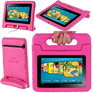 """i-Blason ArmorBox Kido Series for Kindle Fire HD 7 Inch Tablet Convertible Stand Cover Case Kids Friendly (will only fit Kindle Fire HD 7"""" 1st Generation 2012)  (Pink)"""