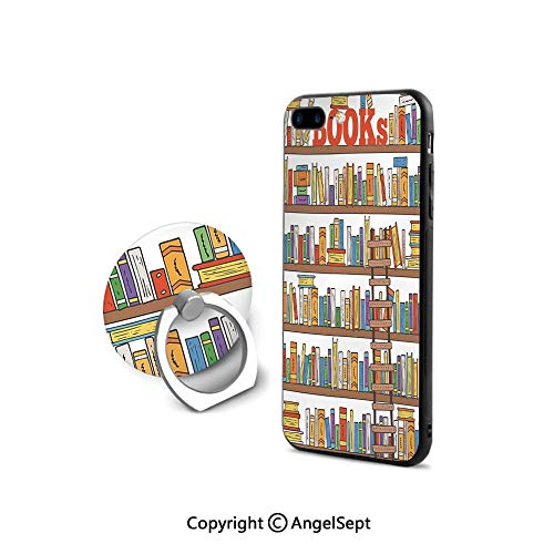 Protector for iPhone 7/8 with 360°Degree Swivel Ring,Library Bookshelf with A Ladder School Education Campus Life Caricature Illustration,Shockproof Protection,Multicolor
