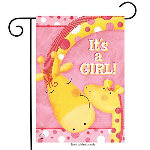 """It's A Girl Garden Flag Giraffes Baby Shower Welcome 12.5""""x1"""
