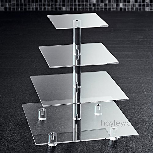 Hayley Cherie 4-Tier Square Cupcake Stand - Acrylic Tiered Cake Stand - Dessert or Cupcake Tower ()