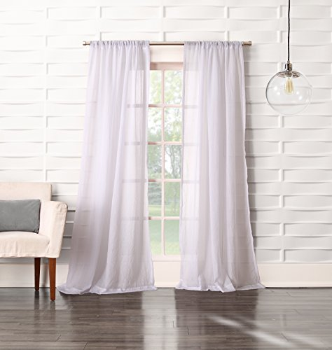 No. 918 Tayla Crushed Sheer Voile Rod Pocket Curtain Panel, 50″ x 63″, White