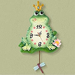 THJ Bell-Wall Clock Metal Accurate 12 inch Creative Stylish Modern European-Style Children's Room Clock Resin Mute Frog Clock -1 X Aa Battery (Not Included)