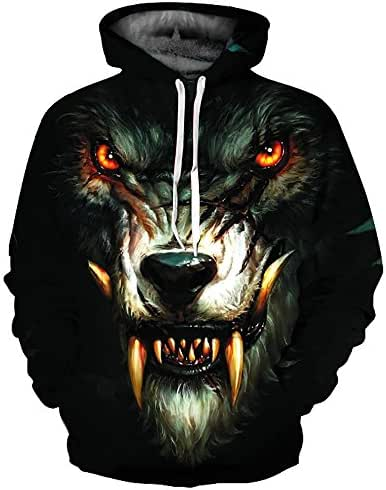 Unisex 3D Printed Wolf Pullover Long Sleeve Hooded Sweatshirt Top Blouse Fashion Hoodie Casual Comfy Outerwear