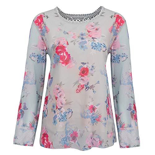 Chemise Xinantime Blouse Manches Floral Dentelle hiver chaude Gris Pour Tops Imprim T Automne Vente Tops shirt femmes en Longues Femmes rUxR0rqw