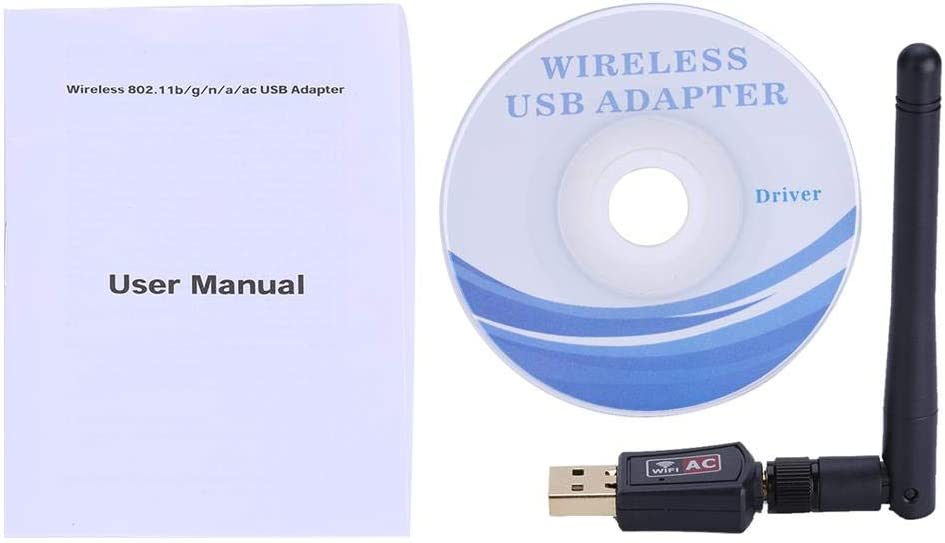 Compatible for Windows XP // 7//8//10 // Linux//Mac USB 2.0 WLAN Stick Wireless USB WLAN Receiver with External Dualband 2.4G 150Mbps // 5G 433Mbps Antenna Bewinner WiFi Adapter