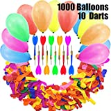 Jyongmer Darts Balloons Carnival Games Set - 1000 Pcs Assorted Color Latex Balloons Water Balloon with 10 Pcs Plastic Darts for Christmas, Carnival, Birthday Party & Outdoor Games