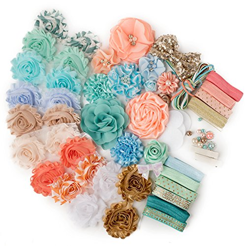 Under The Boardwalk : Mint Green Peach & Baby Blue DELUXE DIY Flower Headband Kit MAKES 25+ Unique Hair Pieces : Shabby Chiffon Craft Roses Elastics : Blush Fall Colors Parties & Baby Showers -