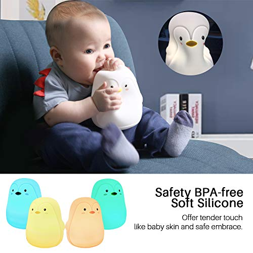 Penguin Gifts,GoLine Night Light for Kids,Baby Lamps for Nursery,Toys for 3-8 Year Old Boys Girls,Kids Night Lights for Bedroom,Cute Silicone LED Nightlights for Children,Rechargeable.