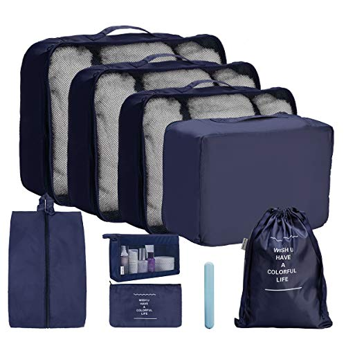OrgaWise Packing Cubes for Travel Organizer 9 Pcs Luggage Suitcase Waterproof Organizers - 4 Travel Cubes + 1 Pouches + 1 Shoe Bag+1 Cosmetic bag+1 Drawsting Bag+1 Toothbrush Box (9 Pcs Navy Blue) from OrgaWise