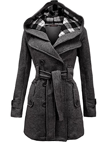 Envy Boutique Women's Military Button Hooded Fleece Belted Jacket 14 Charcoal Grey (Coat Military Pea Women)