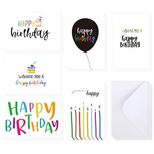 Ohuhu Happy Birthday Greeting Card, 48 Folded Birthday Cards W/ 48 Envelopes, 4 x 6 inch, Candle, Cake Balloon Designs