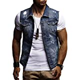 SPE969 Denim Jacket Men's Autumn Winter Destroyed Vintage Waistcoat Blouse Vest Tops