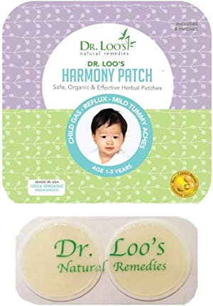 Dr. Loo's NATURAL REMEDIES Organic Herbal Sticker Patches for Colic, Reflux, Gas and Constipation for 1-5 Year Old, 16 Patches