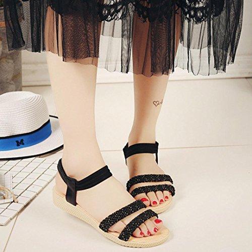 Sandalias de vestir, Ouneed ® Moda mujer Soild Bohemia ocio sandalias Peep-Toe zapatos planos Negro