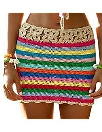 Bigbarry Las Vacaciones de Verano Playa Sexy Mini Falda de Crochet