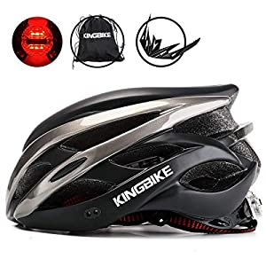 KINGBIKE Ultralight Bike Helmets CPSC&CE Certified with Rear Light + Portable Simple Backpack + Detachable Visor for Men…