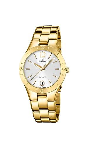 para Mujer Candino Reloj Infantil de Cuarzo con Esfera analógica Blanca y Dorado Correa de Acero Inoxidable c4577/1: Amazon.es: Relojes