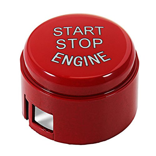 """Thor-Inst Start Stop Button Push Button Ignition Switch Cover Replacement for BMW 5 6 7 F01 F02 F10 F11 F12 2009-2013 without""""OFF"""" Button(Ferrari red)"""