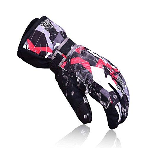 Triwonder Ski Gloves/Waterproof Windproof Thermal Warm Winter Snow Skiing Snowboard Gloves for Men, Women and Kids (L (women), Black)